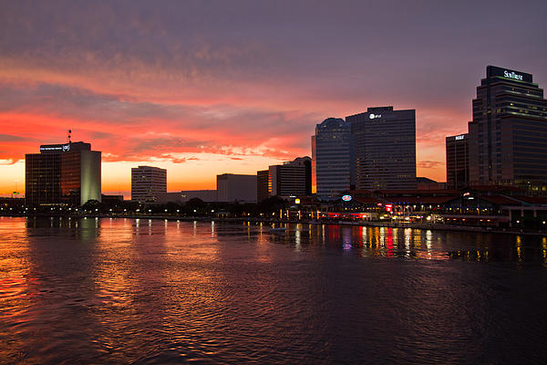Clouds Photograph - Jacksonville Skyline Night by Debra and Dave Vanderlaan