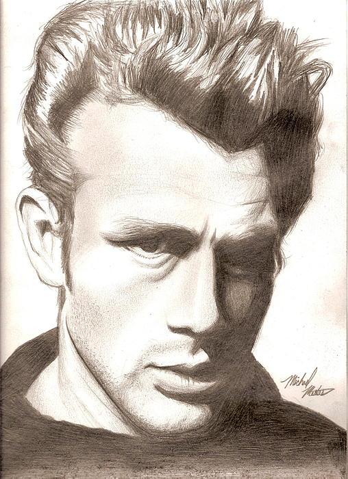 James Drawing - James Dean by Michael Mestas