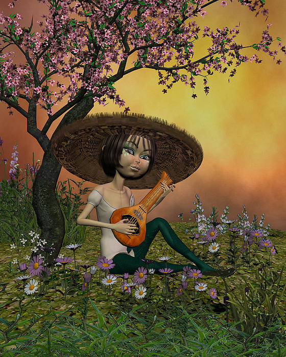 Japanese Digital Art - Japanese Musical Morning In The Garden by John Junek