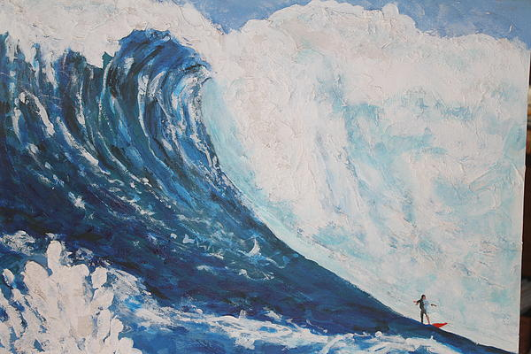 Professionals Surfing The Largest Waves In The World. I Love The Mixed Medias I Use  Painting - Jaws Peahi Maui Hawaii by Giorgia Piekarski
