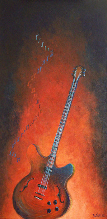 Animal Prints Painting - Jazz Guitar by Bill Werle