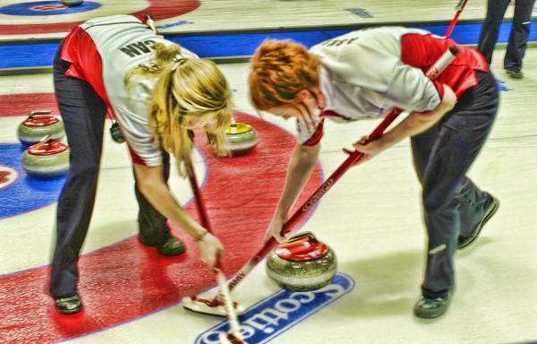 Curling Photograph - Jennifer And Dawn by Lawrence Christopher