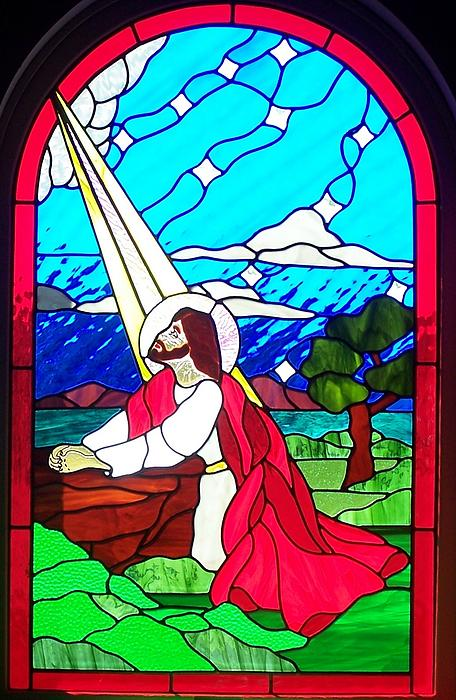 Stained Glass Glass Art - Jesus Talking To God The Father by Gladys Espenson