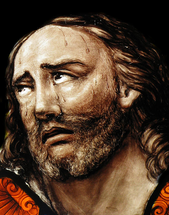 Religious Photograph - Jesus Tears by Munir Alawi