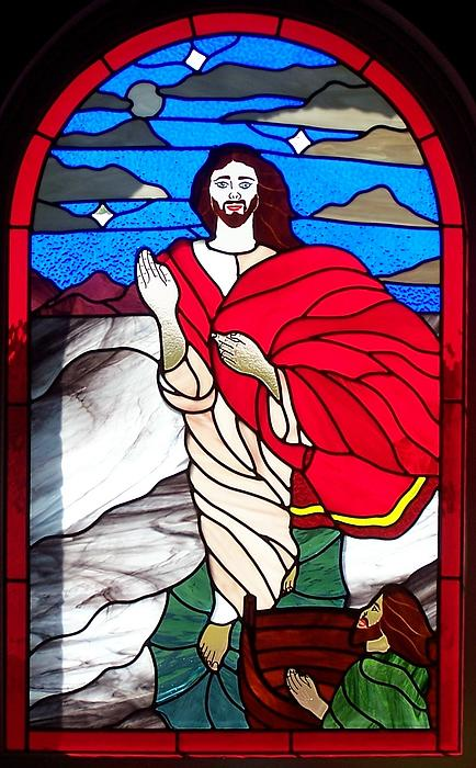 Stained Glass Glass Art - Jesus Walking On The Water by Gladys Espenson