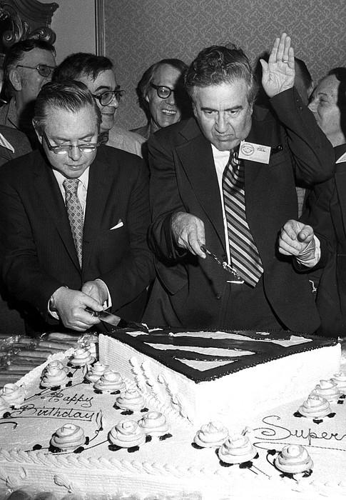 Birthday Cake Photograph - Joe Shuster, With Jerry Siegel by Everett