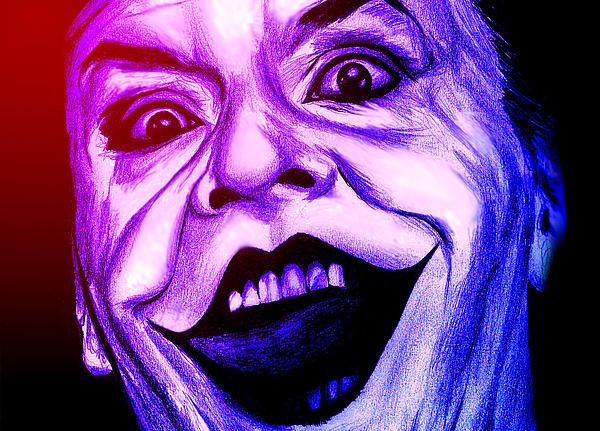 Joker Digital Art - Joker Neon by Michael Mestas