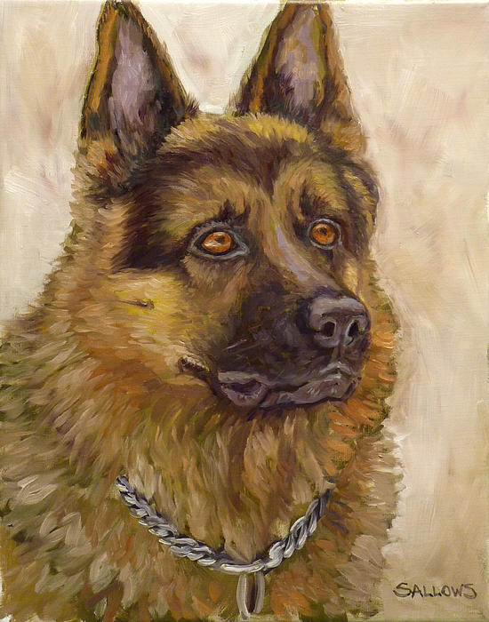 Dog Painting - Judge A German Shepherd by Nora Sallows