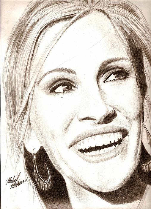 Julia Drawing - Julia Roberts by Michael Mestas
