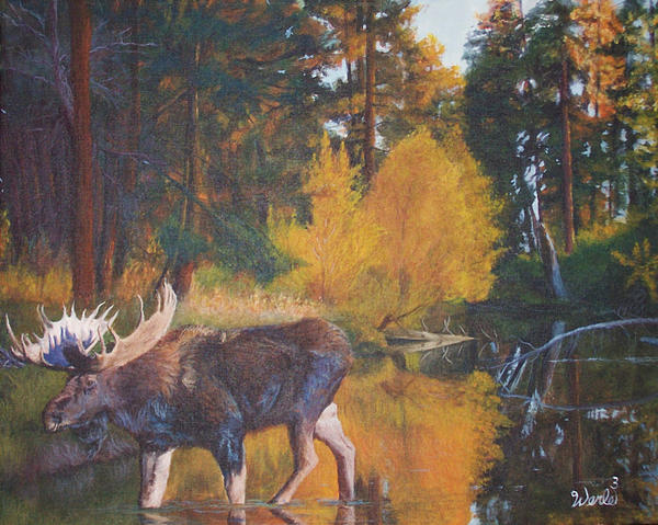 Moose Paintings Painting - Just Passing Through by Bill Werle