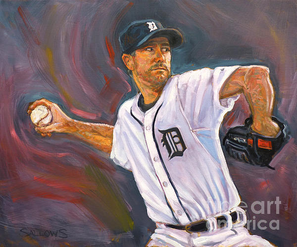 Detroit Painting - Justin Verlander Throws A Curve by Nora Sallows