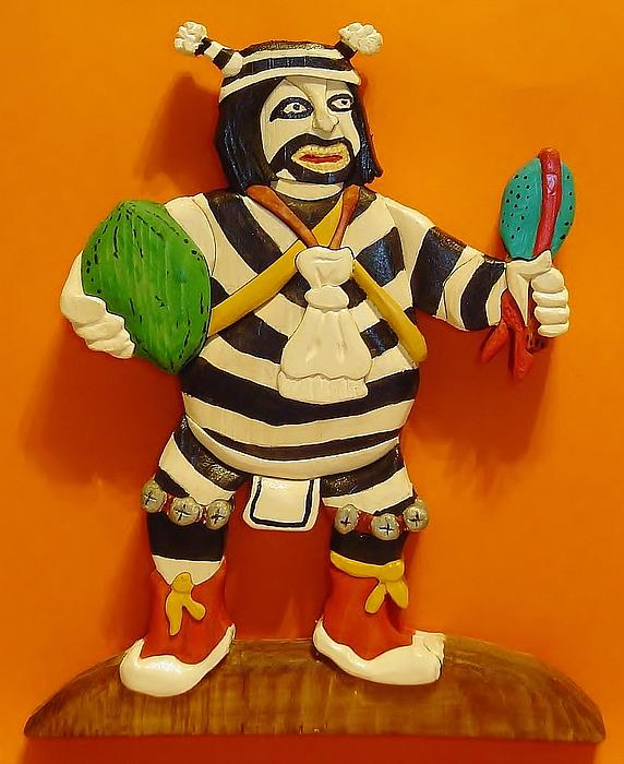 Native American Sculpture - Kachina Clown  by Russell Ellingsworth