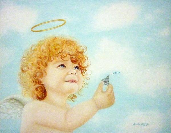 Angel Painting - Kisses For You by Gizelle Perez