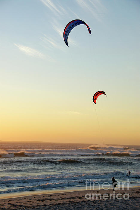 South African Photograph - Kite Surfers On Beach At Sunset by Sami Sarkis