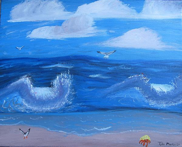 Seascape Painting - Knee Deep In The Water Somewhere by Tyler Martin