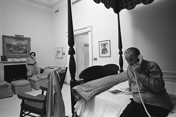 History Photograph - Lady Bird And President Johnson Taking by Everett