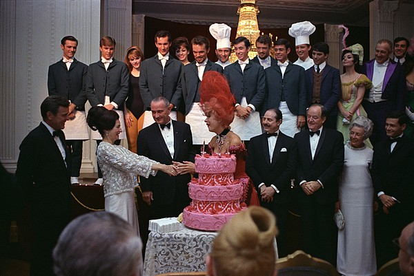 History Photograph - Lady Bird Johnson Thanks Carol Channing by Everett