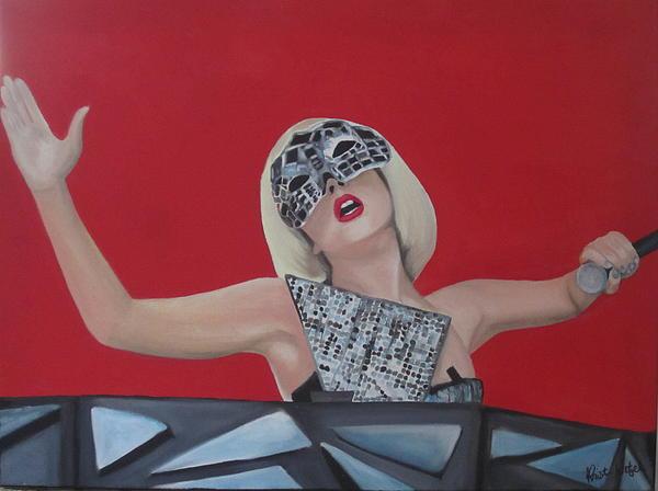 Mask Painting - Lady Gaga Poker Face by Kristin Wetzel