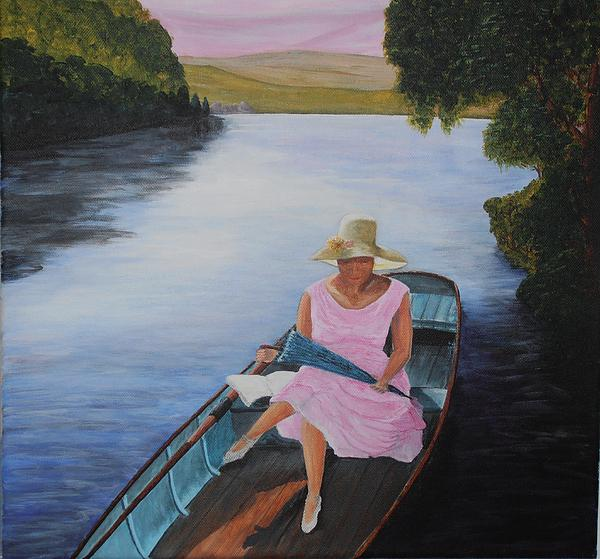 Lady In Pink. Lady On Punt Painting - Lady In Pink by Siobhan Lawson
