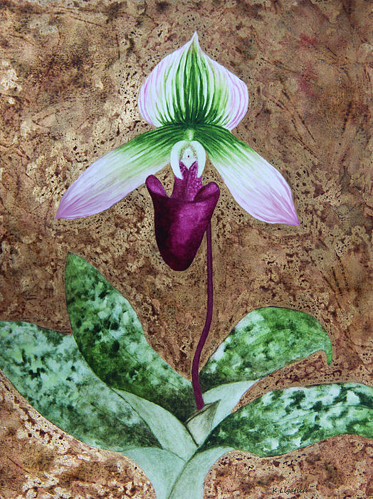 Floral Mixed Media - Lady Slipper Orchid With Gold Leaf Background by Kerri Ligatich