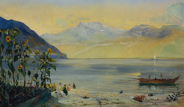 Bay Painting - Lake Leman With The Dents Du Midi In The Distance by John William Inchbold