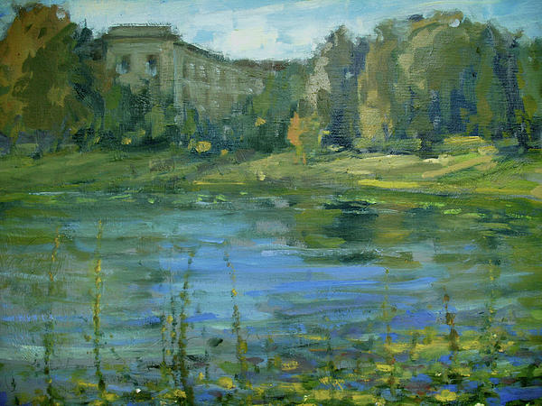 Plein Air Painting - Lake Lilies Lillies by Berto Ortega