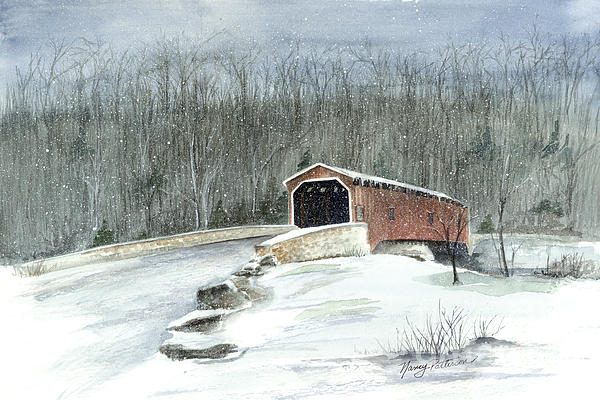 Covered Bridge Painting - Lancaster County Covered Bridge In The Snow  by Nancy Patterson