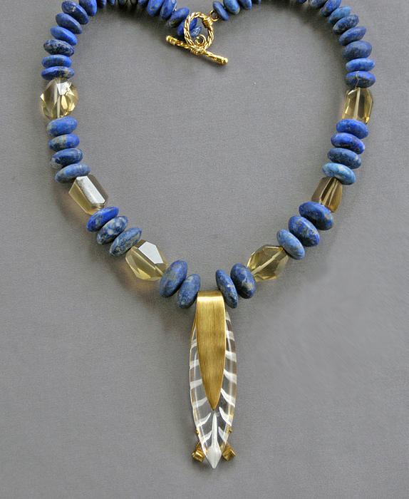 Necklace Jewelry - Lapis And Vintage Lucite by Mirinda Kossoff
