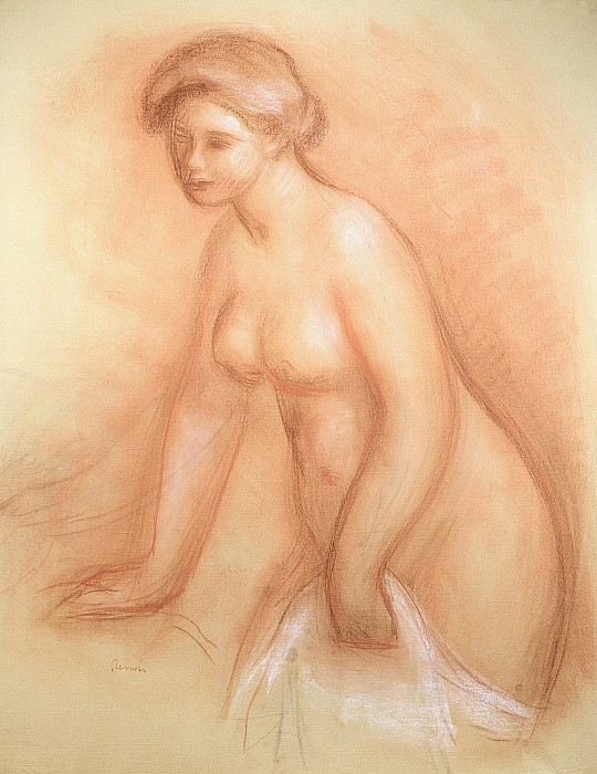 Large Drawing - Large Bather by Pierre Auguste Renoir