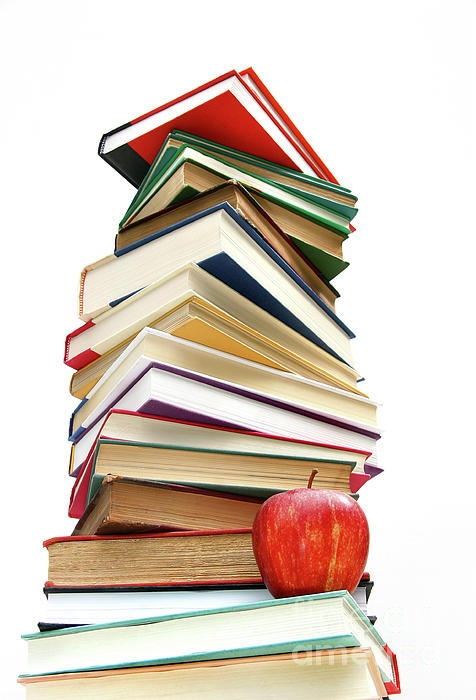 Apple Photograph - Large Pile Of Books Isolated On White by Sandra Cunningham