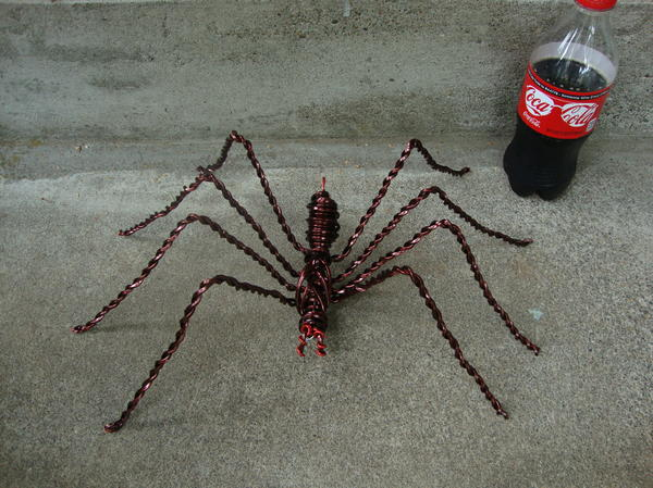 Wire Sculpture - Large Wire Spider Next To 20oz Soda by Scott Faucett