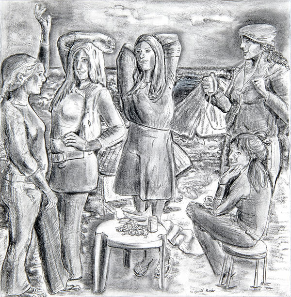 Demoiselle Drawing - Les Demoiselles V1 by Susan Cafarelli Burke
