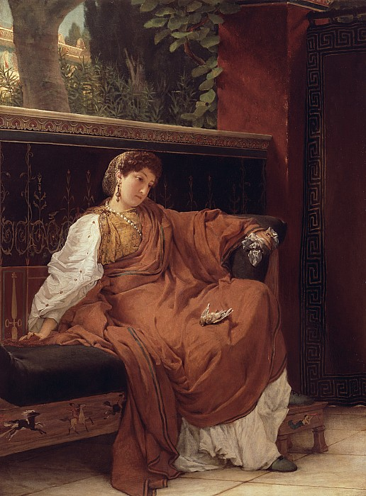 Lesbia Painting - Lesbia Weeping Over A Sparrow by Sir Lawrence Alma-Tadema