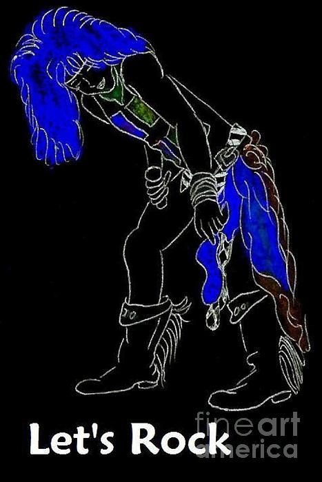 Lets Rock Drawing - Lets Rock-black by Jeannie Atwater Jordan Allen