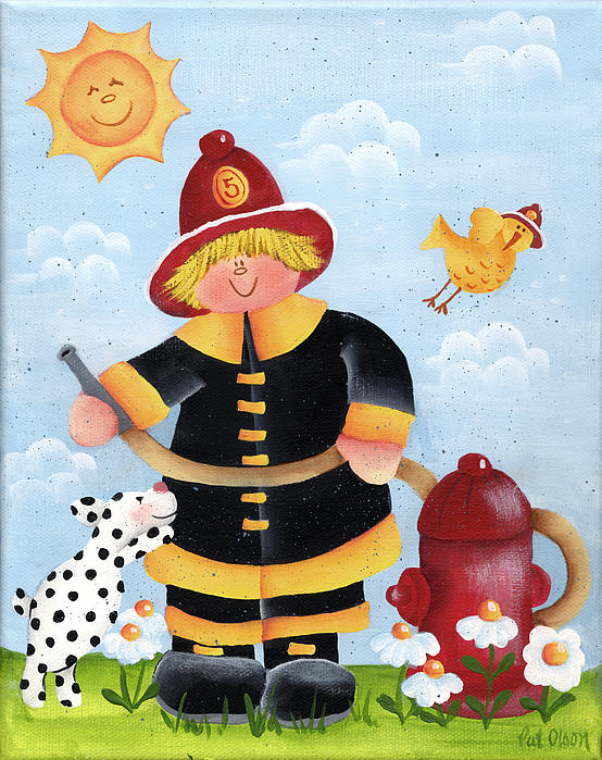 Little Boy Painting - Little Fireman by Pat Olson