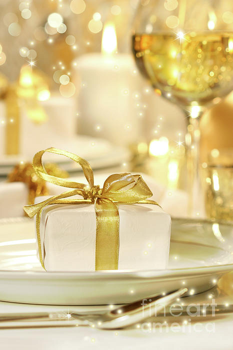 Banquet Photograph - Little Gold Ribboned Gift by Sandra Cunningham