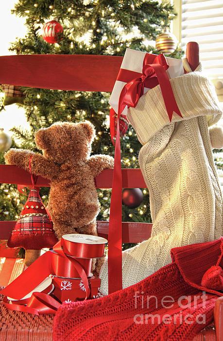 Background Photograph - Little Teddy Bear Looking Through Chair by Sandra Cunningham