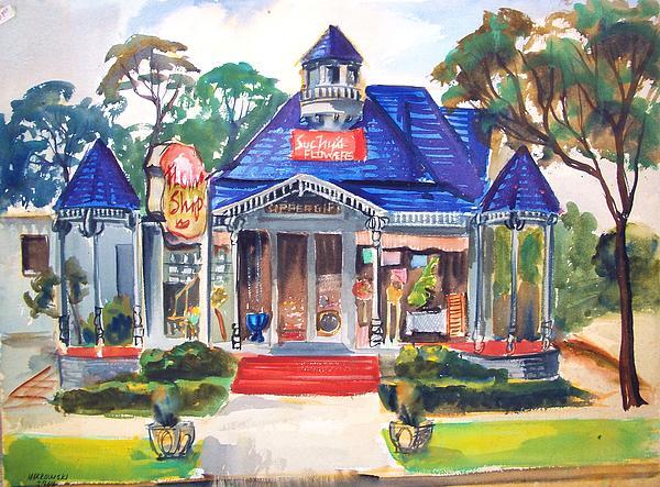 Towns Painting - Little Town Flower Shop by Bill Joseph  Markowski
