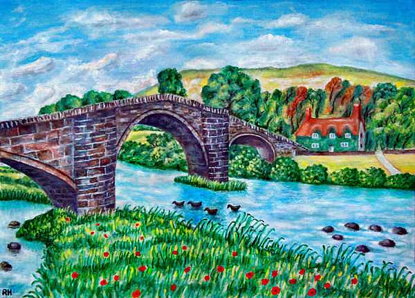 Thatched Cottage Painting - Llanrwst Bridge - Wales by Ronald Haber