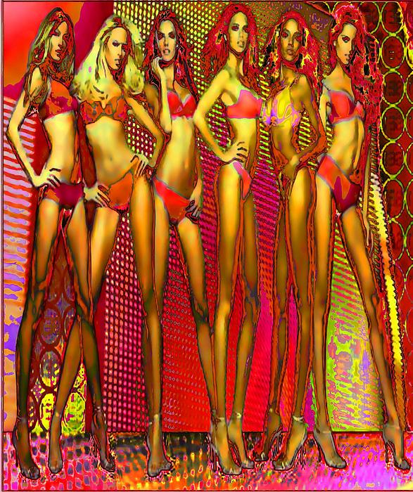 Long Digital Art - Long Legged Blonds And Redheads by Rod Saavedra-Ferrere