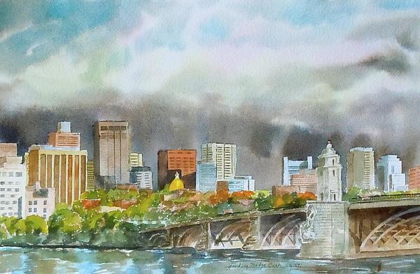 Boston Painting - Longfellow Bridge Boston by Harding Bush