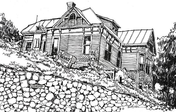 Los Angeles Old Victorian Home Located In The Bunker Hill Area.  Drawing - Los Angeles Victorian Home In Bunker Hill Area by Robert Birkenes