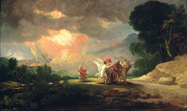 Lot Painting - Lot Fleeing From Sodom by Benjamin West