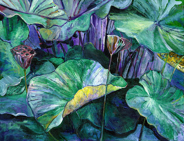 Lotus Painting - Lotus Pond by Carol Mangano