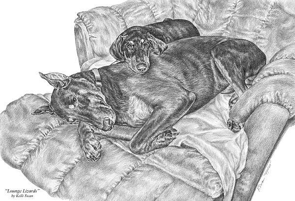 Doberman Drawing - Lounge Lizards - Doberman Pinscher Dog Art Print by Kelli Swan