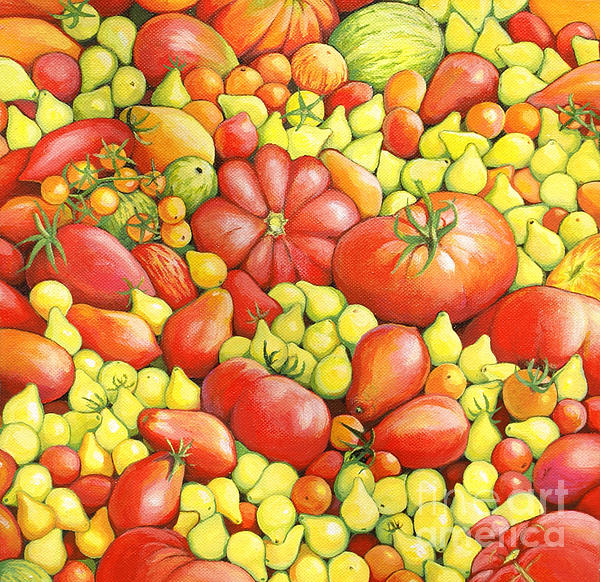 Tomatoes Painting - Love Apples ... Heirloom Tomatoes by Susan A Walton