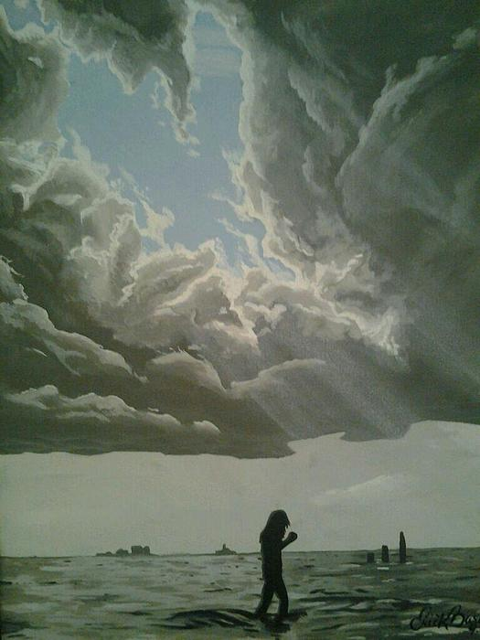 Clouds Painting - Love Walks On Water by Eric Barich