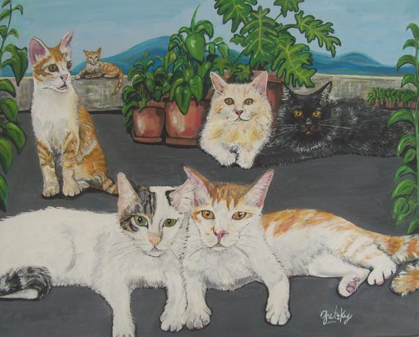 Gretzky Greta Cat Kitten Feline Fur Kitty Stripe Tabby Orange Persian White Black Cream Roof Patio Plants Landscape Mountains Paw Tail Whiskers Painting Canvas Print Portrait   Painting - Lovely Cats by Paintings by Gretzky