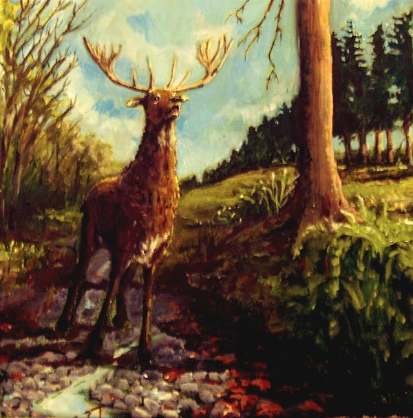 Stag Painting - Lowland Stag by Graham Keith