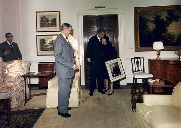 History Photograph - Lyndon And Lady Bird Johnson Moving by Everett